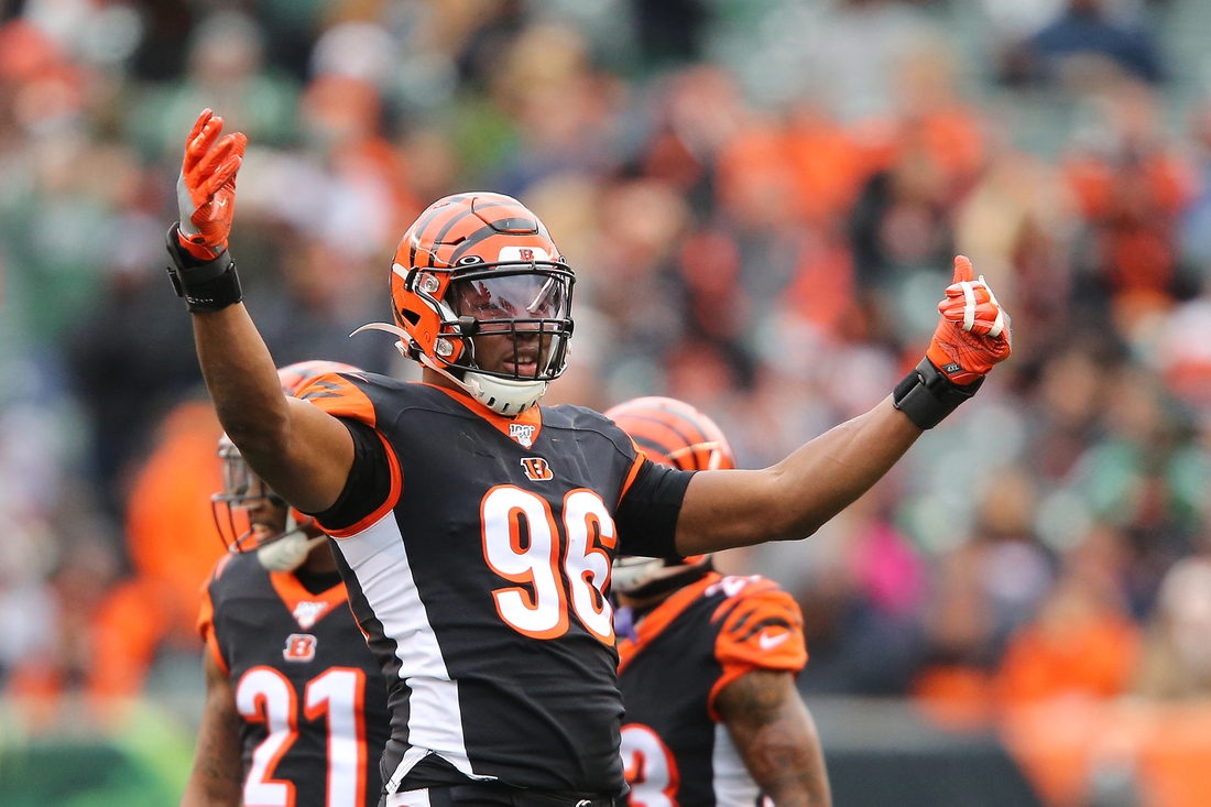 Dec 1, 2019; Cincinnati, OH, USA; Cincinnati Bengals defensive end Carlos Dunlap (96) celebrates during the third quarter against the New York Jets at Paul Brown Stadium. Mandatory Credit: Joe Maiorana-USA TODAY Sports