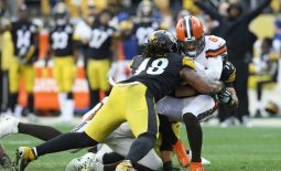 Dec 1, 2019; Pittsburgh, PA, USA;  Pittsburgh Steelers outside linebacker Bud Dupree (48) sacks Cleveland Browns quarterback Baker Mayfield (6) during the fourth quarter at Heinz Field. The Steelers won 20-13. Mandatory Credit: Charles LeClaire-USA TODAY Sports