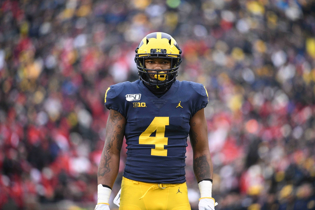 Nov 30, 2019; Ann Arbor, MI, USA; Michigan Wolverines wide receiver Nico Collins (4) during the game against the Ohio State Buckeyes at Michigan Stadium. Mandatory Credit: Tim Fuller-USA TODAY Sports