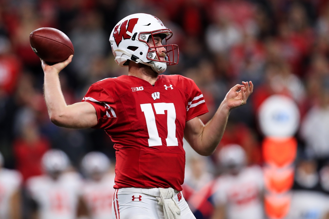 Dec 7, 2019; Indianapolis, IN, USA; Wisconsin Badgers quarterback Jack Coan (17) looks to pass against the Ohio State Buckeyes during the first half in the 2019 Big Ten Championship Game at Lucas Oil Stadium. Mandatory Credit: Aaron Doster-USA TODAY Sports