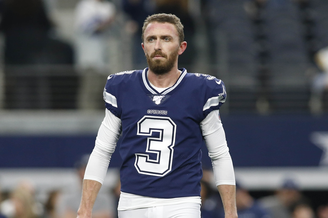 Dec 15, 2019; Arlington, TX, USA; Dallas Cowboys kicker Kai Forbath (3) on the field before the game against the Los Angeles Rams at AT&T Stadium. Mandatory Credit: Tim Heitman-USA TODAY Sports