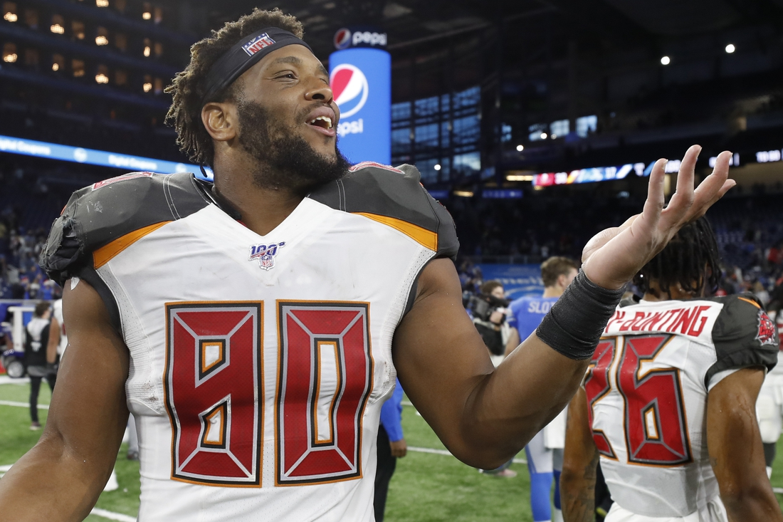 Dec 15, 2019; Detroit, MI, USA; Tampa Bay Buccaneers tight end O.J. Howard (80) gestures with his hand after the game against the Detroit Lions at Ford Field. Mandatory Credit: Raj Mehta-USA TODAY Sports