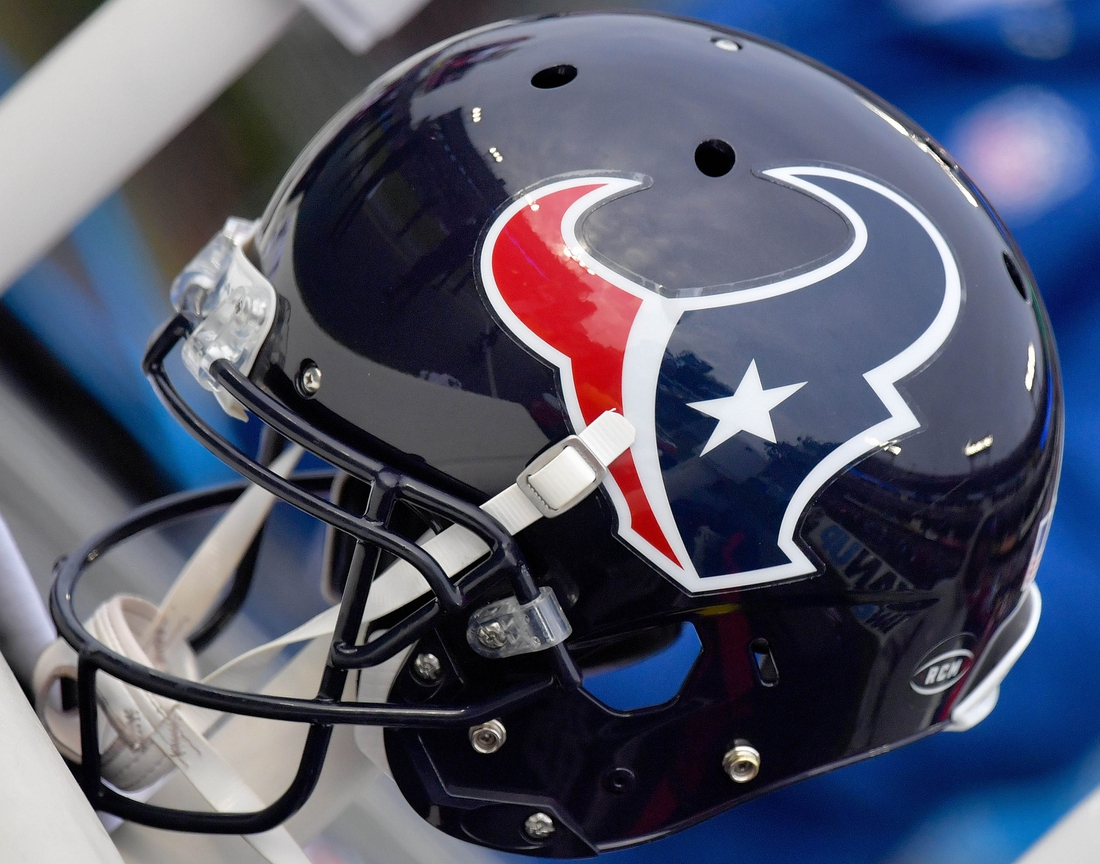 Dec 15, 2019; Nashville, TN, USA; Houston Texans helmet on the sideline during the second half against the Tennessee Titans at Nissan Stadium. Mandatory Credit: Jim Brown-USA TODAY Sports