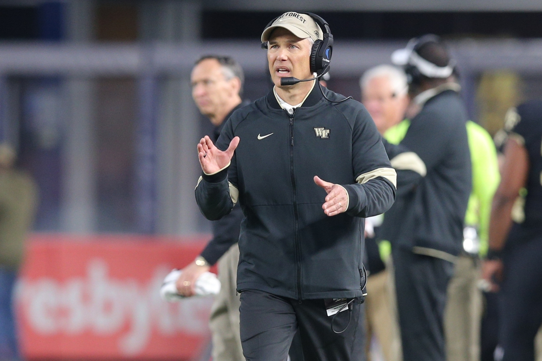 Dec 27, 2019; Bronx, New York, USA; Wake Forest Demon Deacons head coach Dave Clawson coaches against the Michigan State Spartans during the second quarter of the Pinstripe Bowl at Yankee Stadium. Mandatory Credit: Brad Penner-USA TODAY Sports