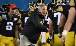 Dec 27, 2019; San Diego, California, USA; Iowa Hawkeyes coach Kirk Ferentz reacts with his players in the second quarter against the Southern California Trojans during the Holiday Bowl at SDCCU Stadium. Mandatory Credit: Kirby Lee-USA TODAY Sports