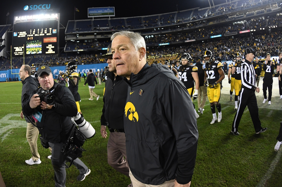 Dec 27, 2019; San Diego, California, USA; Iowa Hawkeyes coach Kirk Ferentz reacts after the Holiday Bowl against the Southern California Trojans at SDCCU Stadium. Mandatory Credit: Kirby Lee-USA TODAY Sports