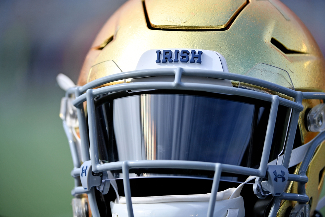 Dec 28, 2019; Orlando, Florida, USA;  A detailed view of a Notre Dame Fighting Irish helmet prior to the game between the Notre Dame Fighting Irish and the Iowa State Cyclones at Camping World Stadium. Mandatory Credit: Jasen Vinlove-USA TODAY Sports