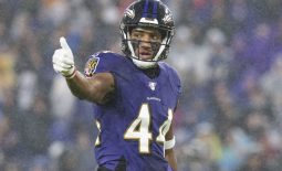 Dec 29, 2019; Baltimore, Maryland, USA;  Baltimore Ravens cornerback Marlon Humphrey (44) during the first quarter against the Pittsburgh Steelers at M&T Bank Stadium. Mandatory Credit: Tommy Gilligan-USA TODAY Sports