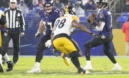 Dec 29, 2019; Baltimore, Maryland, USA;  Baltimore Ravens quarterback Robert Griffin III (3) looks to pass as offensive guard Bradley Bozeman (77) blocks Pittsburgh Steelers inside linebacker Vince Williams (98) during the third quarter at M&T Bank Stadium. Mandatory Credit: Tommy Gilligan-USA TODAY Sports