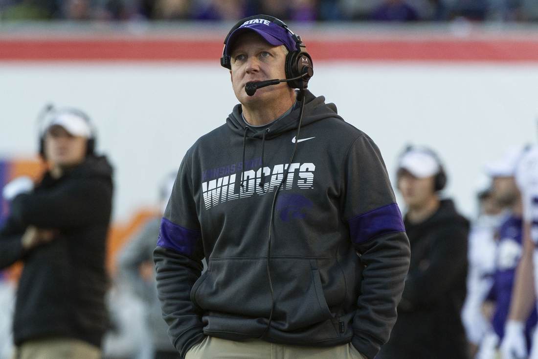 Dec 31, 2019; Memphis, Tennessee, USA; Kansas State Wildcats head coach Chris Klieman during the first half against the Navy Midshipmen at Liberty Bowl Memorial Stadium. Mandatory Credit: Justin Ford-USA TODAY Sports
