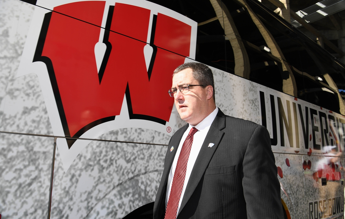 Jan 1, 2020; Pasadena, California, USA; Wisconsin Badgers head coach Paul Chryst arrives at Rose Bowl Stadium before the Rose Bowl game against the Oregon Ducks. Mandatory Credit: Kirby Lee-USA TODAY Sports
