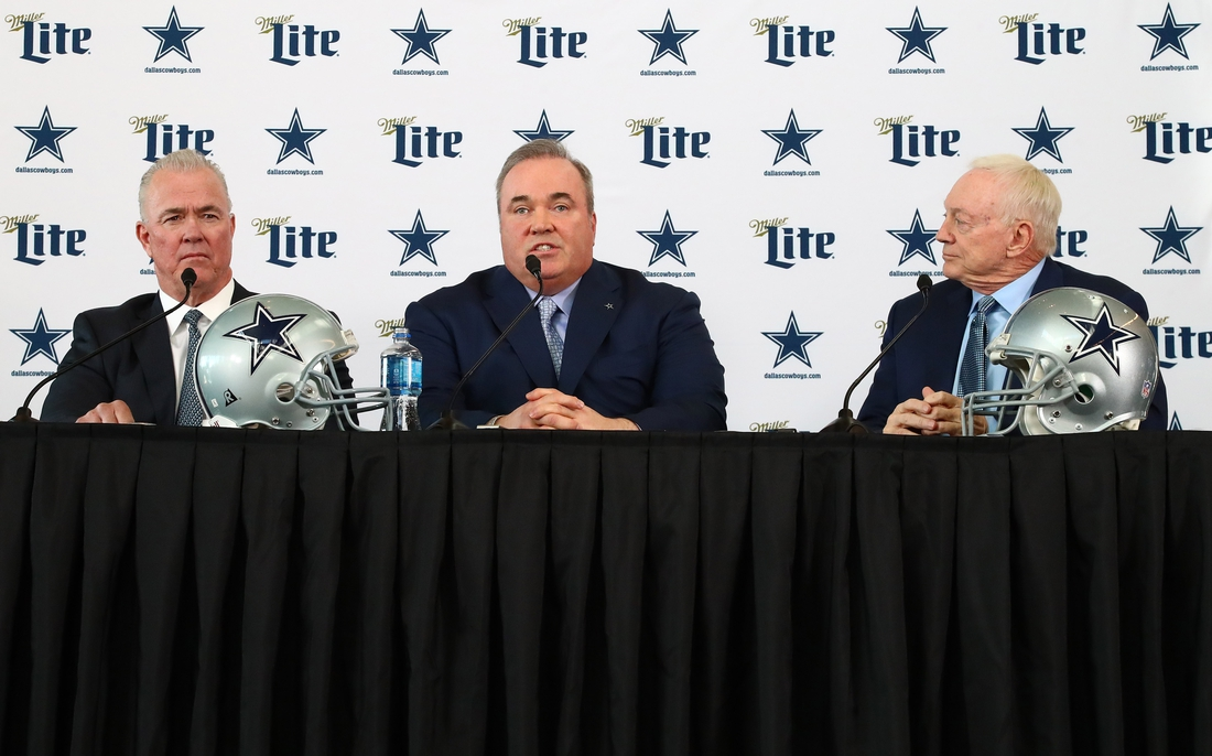Jan 8, 2020; Frisco, Texas, USA; Dallas Cowboys head coach Mike McCarthy (center) answers questions with owner Jerry Jones (right) and executive vice president Stephen Jones during a press conference at Ford Center at the Star. Mandatory Credit: Matthew Emmons-USA TODAY Sports