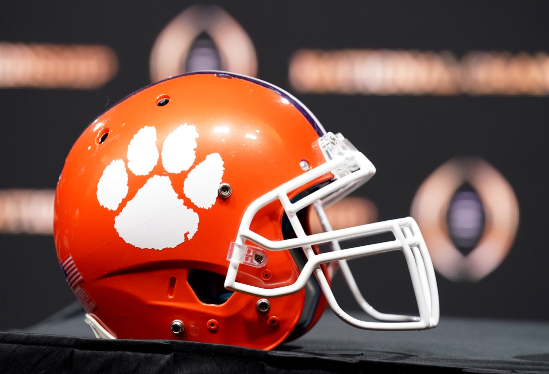 Jan 12, 2020; New Orleans, Louisiana, USA; A Clemson Tigers helmet on display before the head coaches press conference for the CFP with LSU Tigers head coach Ed Orgeron and Clemson Tigers head coach Dabo Swinney at the Sheraton New Orleans, Grand Ballroom. Mandatory Credit: John David Mercer-USA TODAY Sports