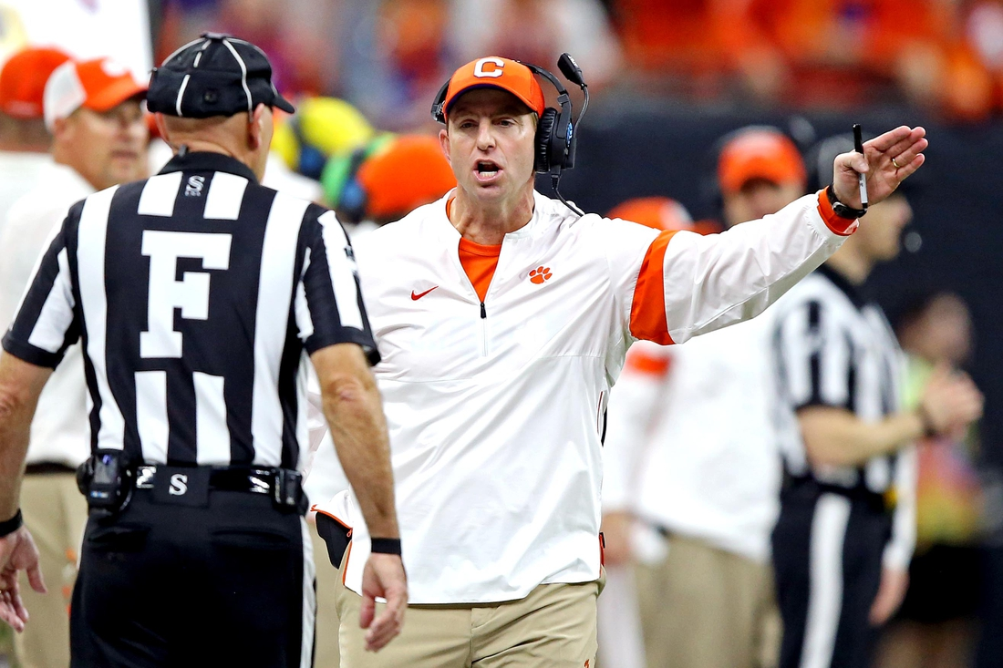 Jan 13, 2020; New Orleans, Louisiana, USA; Clemson Tigers head coach Dabo Swinney reacts to a call during the fourth quarter against the LSU Tigers in the College Football Playoff national championship game at Mercedes-Benz Superdome. Mandatory Credit: Chuck Cook-USA TODAY Sports