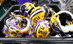 Jan 13, 2020; New Orleans, Louisiana, USA; Detail view of LSU Tigers helmets after the LSU Tigers defeated the Clemson Tigers in the College Football Playoff national championship game at Mercedes-Benz Superdome. Mandatory Credit: John David Mercer-USA TODAY Sports