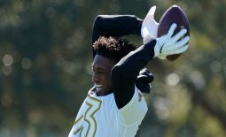 Jan 25, 2020; Kissimmee, Florida, USA; New Orleans Saints receiver Michael Thomas (13) catches a pass during NFC Practice at ESPN Wide World of Sports. Mandatory Credit: Kirby Lee-USA TODAY Sports