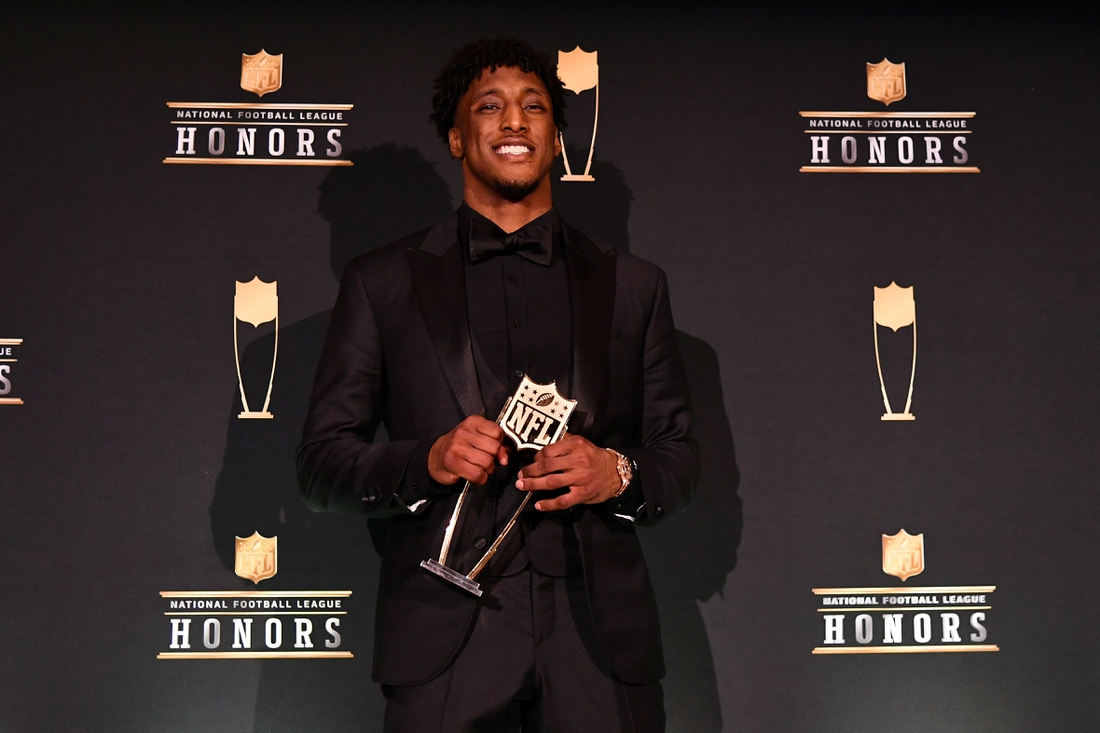 Feb 1, 2020; Miami, Florida, USA; New Orleans Saints Michael Thomas poses for a photo after receiving the AP Offensive Player of the Year award during the NFL Honors awards presentation at Adrienne Arsht Center. Mandatory Credit: Jasen Vinlove-USA TODAY Sports