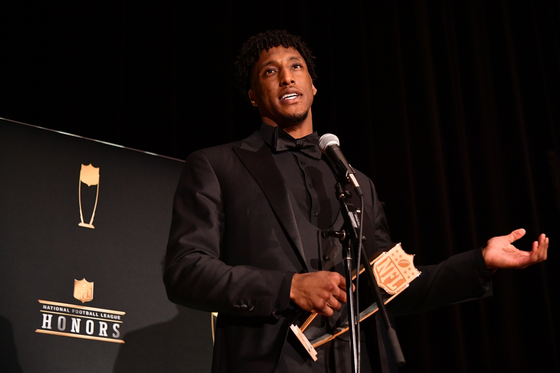 Feb 1, 2020; Miami, Florida, USA; New Orleans Saints Michael Thomas speaks to the media after receiving the AP Offensive Player of the Year award during the NFL Honors awards presentation at Adrienne Arsht Center. Mandatory Credit: Jasen Vinlove-USA TODAY Sports