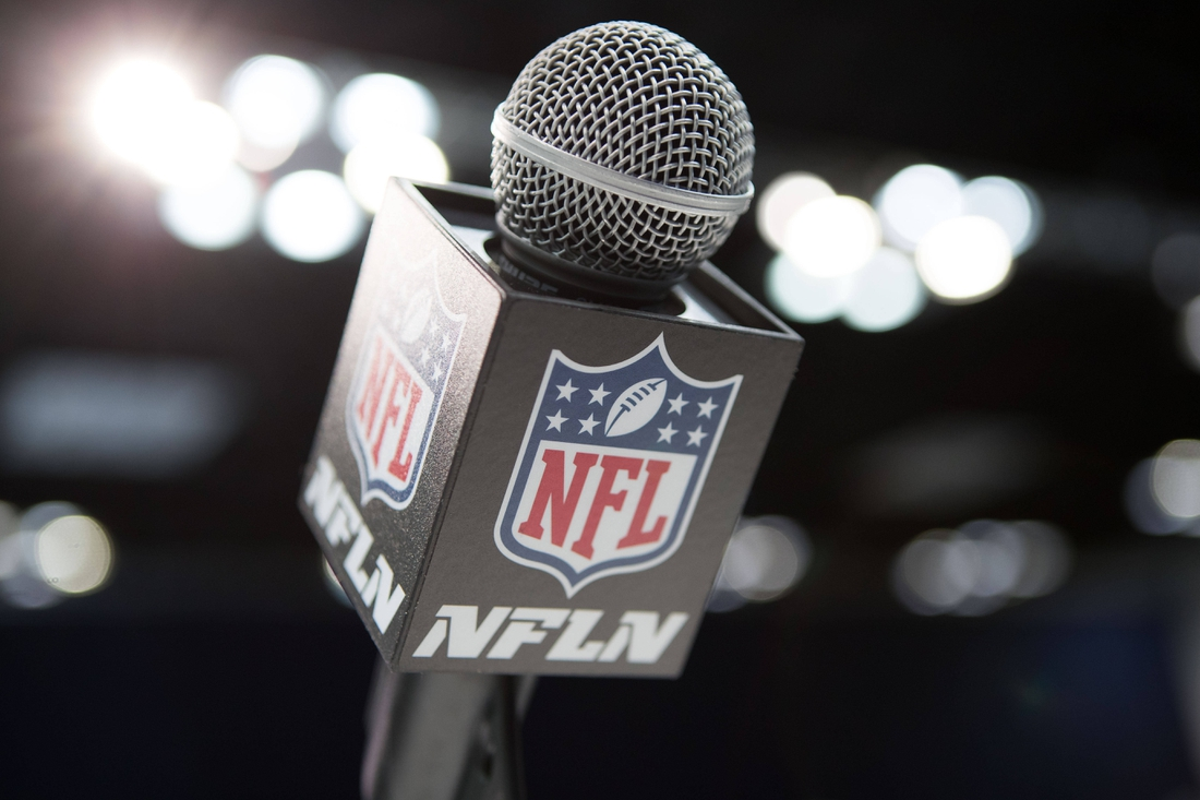 Feb 28, 2020; Indianapolis, Indiana, USA; A view of the NFL microphone during the 2020 NFL Combine in the Indianapolis Convention Center. Mandatory Credit: Trevor Ruszkowski-USA TODAY Sports