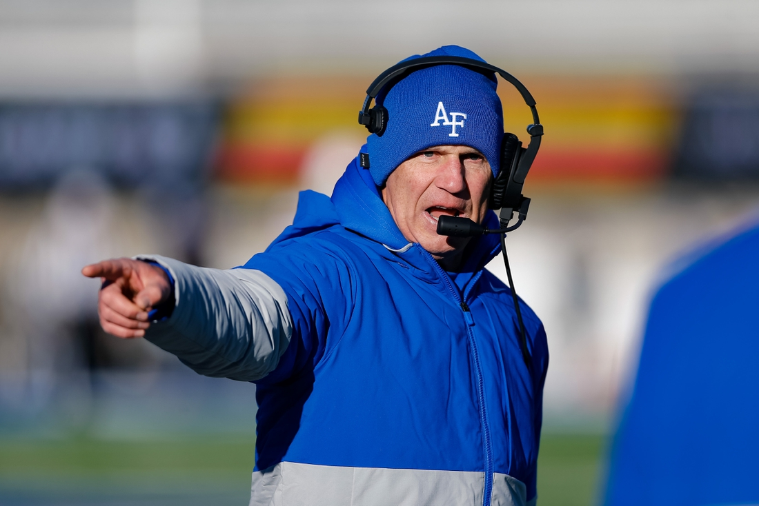 Nov 30, 2019; Colorado Springs, CO, USA; Air Force Falcons head coach Troy Calhoun gestures in the fourth quarter against the Wyoming Cowboys at Falcon Stadium. Mandatory Credit: Isaiah J. Downing-USA TODAY Sports