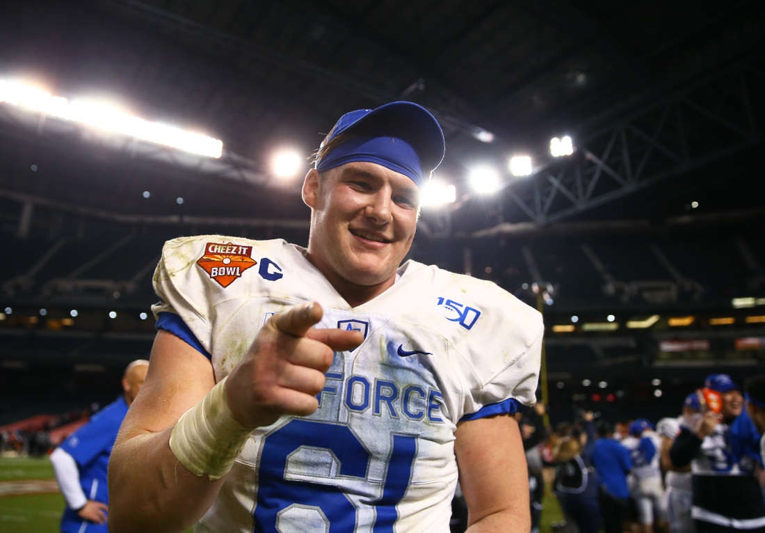 Dec 27, 2019; Phoenix, Arizona, USA; Air Force Falcons offensive lineman Scott Hattok (61) against the Washington State Cougars during the Cheez-It Bowl at Chase Field. Mandatory Credit: Mark J. Rebilas-USA TODAY Sports