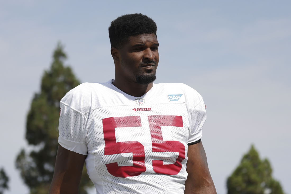 Aug 17, 2020; Santa Clara, CA, USA; San Francisco 49ers defensive end Dee Ford (55) walks to the field during training camp at SAP Performance Facility. Mandatory Credit: San Francisco 49ers/Pool Photo via USA TODAY Network