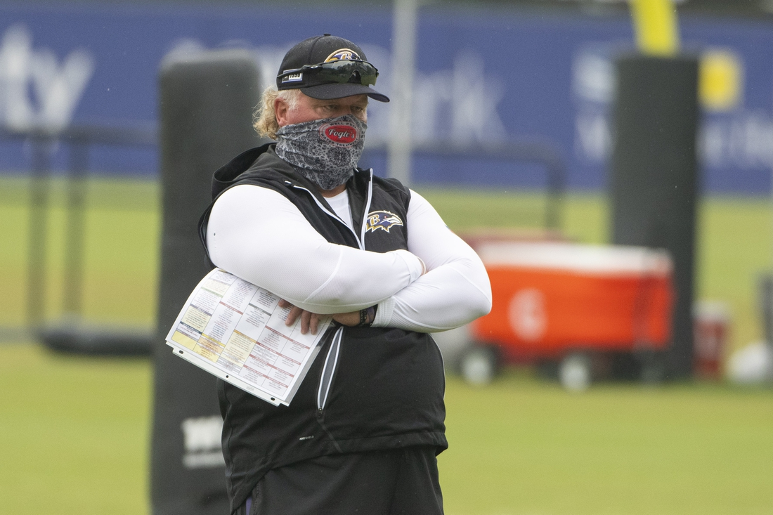 Aug 19, 2020; Owings Mills, Maryland, USA; Baltimore Ravens defensive coordinator Don Martindale watches defensive player drills during the morning session of training camp at Under Armour Performance Center. Mandatory Credit: Tommy Gilligan-USA TODAY Sports