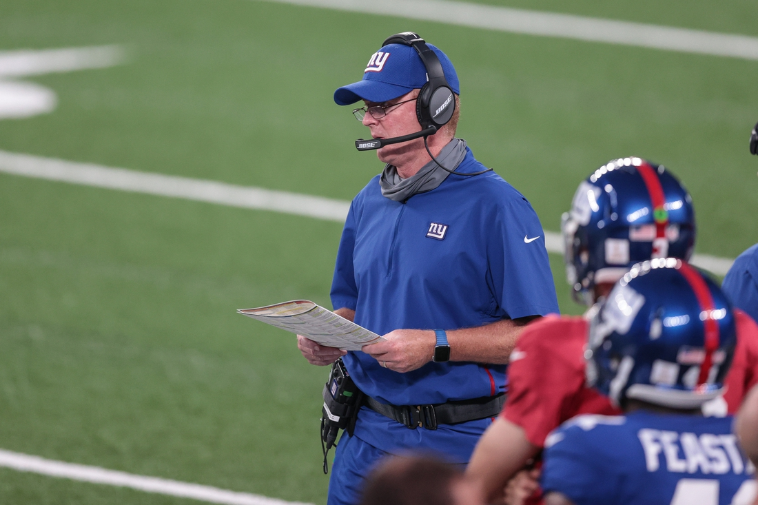 Aug 28, 2020; East Rutherford, New Jersey, USA; New York Giants offensive coordinator Jason Garrett looks on during the first half of the Blue-White Scrimmage at MetLife Stadium. Mandatory Credit: Vincent Carchietta-USA TODAY Sports