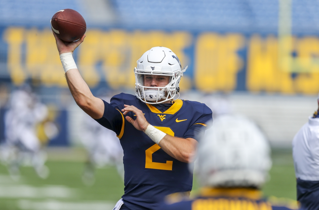 Sep 12, 2020; Morgantown, West Virginia, USA; West Virginia Mountaineers quarterback Jarret Doege (2) warms up prior to their game against the Eastern Kentucky Colonels at Mountaineer Field at Milan Puskar Stadium. Mandatory Credit: Ben Queen-USA TODAY Sports