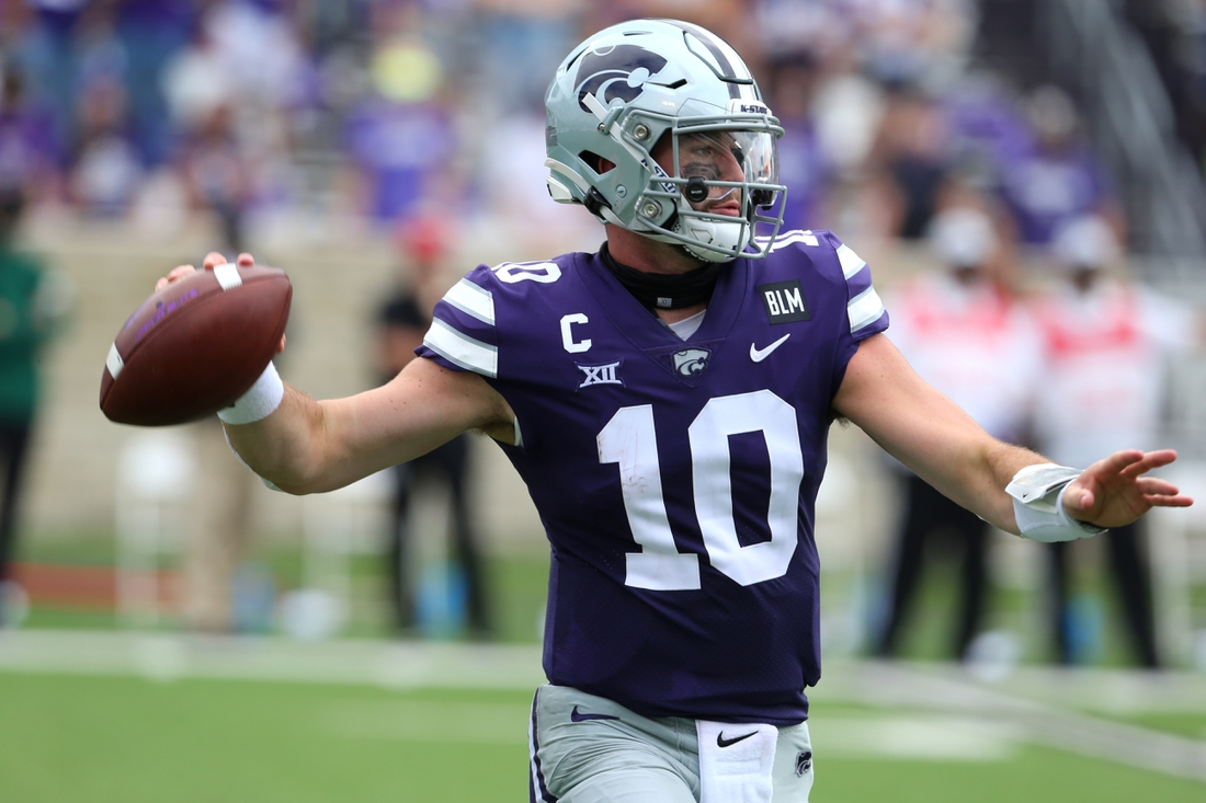 Sep 12, 2020; Manhattan, Kansas, USA; Kansas State Wildcats quarterback Skylar Thompson (10) drops back to pass during a game against the Arkansas State Red Wolves at Bill Snyder Family Football Stadium. Mandatory Credit: Scott Sewell-USA TODAY Sports