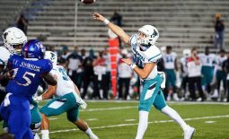 Sep 12, 2020; Lawrence, Kansas, USA; Coastal Carolina Chanticleers quarterback Grayson McCall (10) throws a pass against the Kansas Jayhawks during the second half at David Booth Kansas Memorial Stadium. Mandatory Credit: Jay Biggerstaff-USA TODAY Sports
