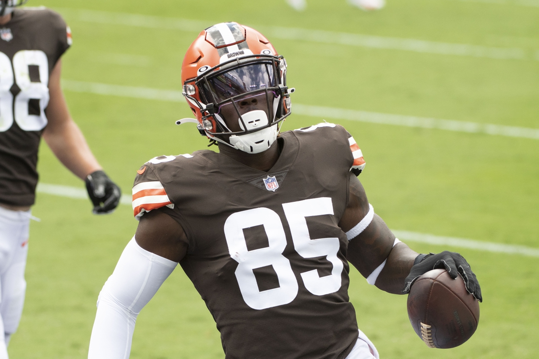 Sep 13, 2020; Baltimore, Maryland, USA;  Cleveland Browns tight end David Njoku (85) reacts after scoring a first quarter touchdown  against the Baltimore Ravens at M&T Bank Stadium. Mandatory Credit: Tommy Gilligan-USA TODAY Sports