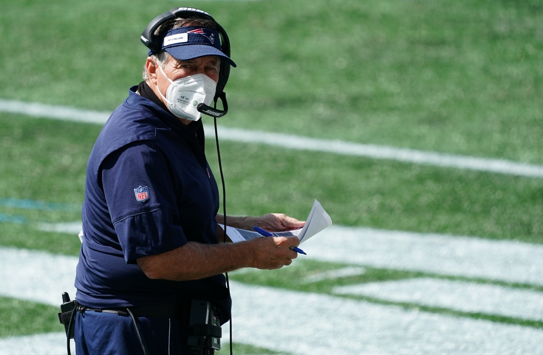 Sep 13, 2020; Foxborough, Massachusetts, USA; New England Patriots head coach Bill Belichick watches from the sideline as they take on the Miami Dolphins at Gillette Stadium. Mandatory Credit: David Butler II-USA TODAY Sports