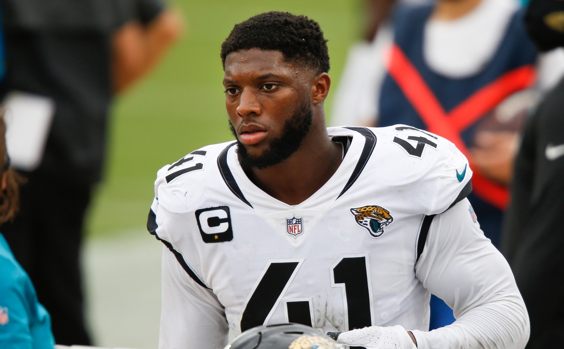 Sep 13, 2020; Jacksonville, Florida, USA;  Jacksonville Jaguars defensive end Josh Allen (41) walks on the bench during the second half against the Indianapolis Colts at TIAA Bank Field. Mandatory Credit: Reinhold Matay-USA TODAY Sports