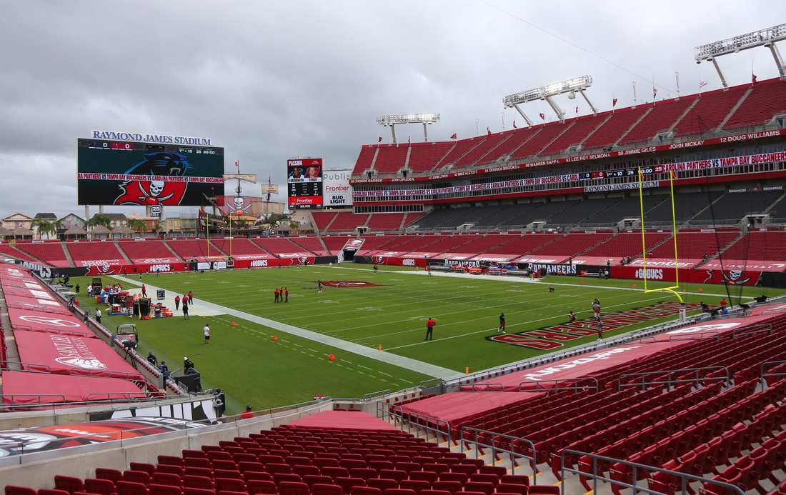 Sep 20, 2020; Tampa, Florida, USA;  A general view of empty stands before a NFL game between the Carolina Panthers and Tampa Bay Buccaneers at Raymond James Stadium. Mandatory Credit: Kim Klement-USA TODAY Sports