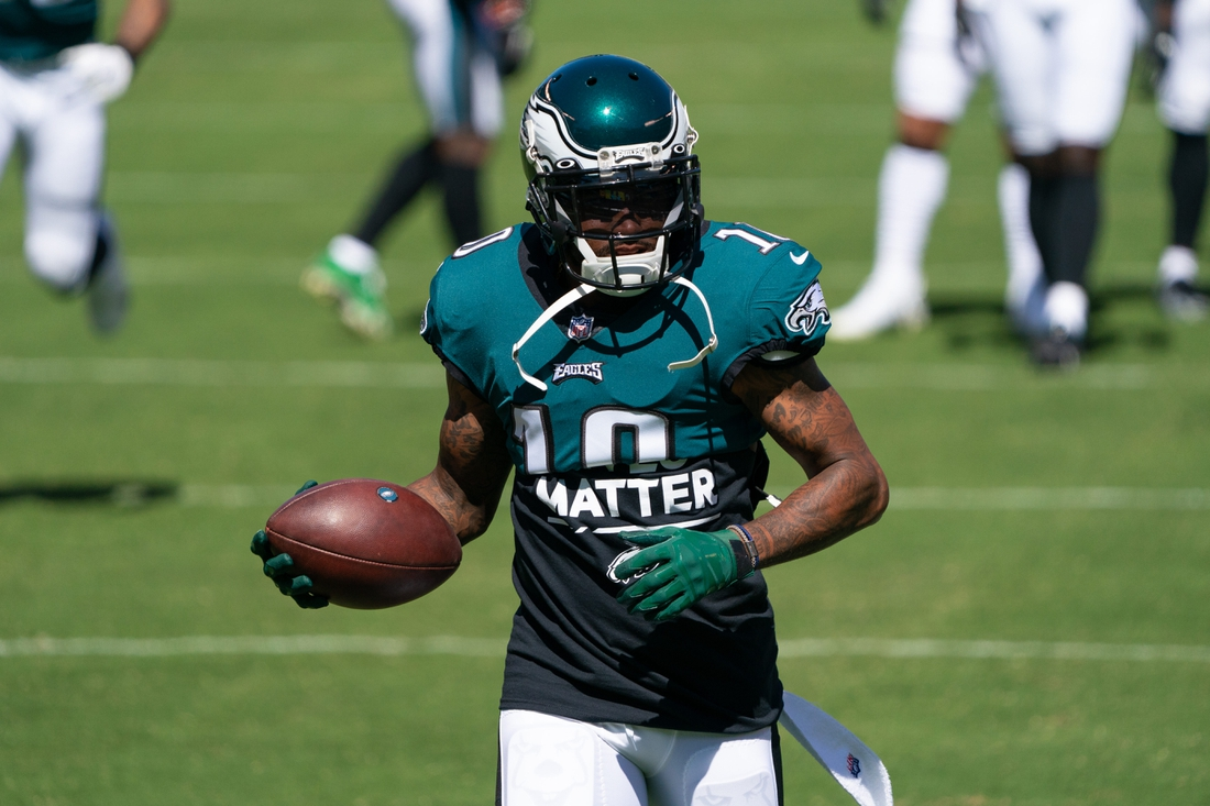 Sep 20, 2020; Philadelphia, Pennsylvania, USA; Philadelphia Eagles wide receiver DeSean Jackson (10) warms up before action against the Los Angeles Rams at Lincoln Financial Field. Mandatory Credit: Bill Streicher-USA TODAY Sports