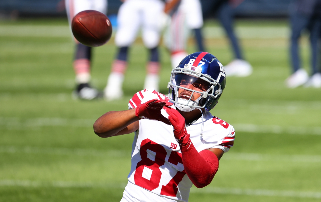 Sep 20, 2020; Chicago, Illinois, USA; New York Giants wide receiver Sterling Shepard (87) practices before the game against the Chicago Bears at Soldier Field. Mandatory Credit: Mike Dinovo-USA TODAY Sports