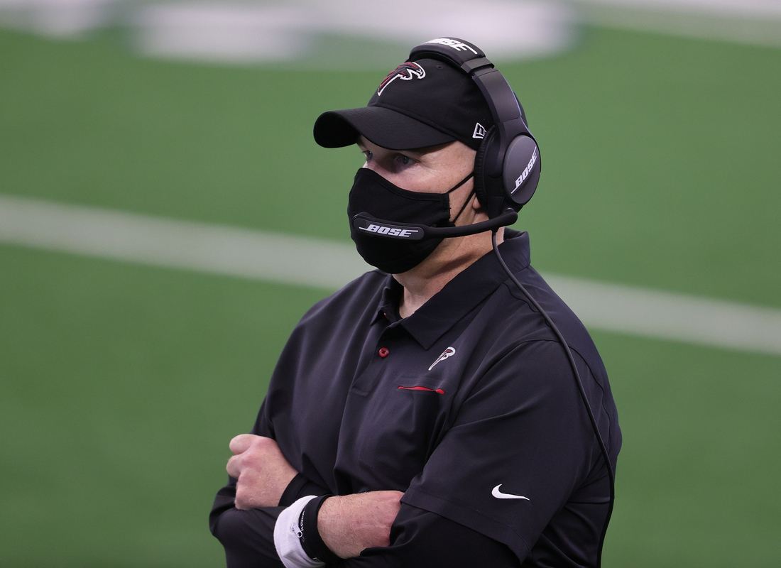 Sep 20, 2020; Arlington, Texas, USA; Atlanta Falcons head coach Dan Quinn on the sidelines during the game against the Dallas Cowboys at AT&T Stadium. Mandatory Credit: Matthew Emmons-USA TODAY Sports