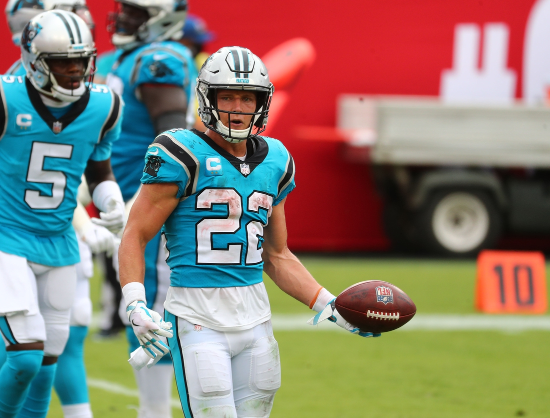 Sep 20, 2020; Tampa, Florida, USA;  Carolina Panthers running back Christian McCaffrey (22) after scoring a touchdown against the Tampa Bay Buccaneers during the third quarter at Raymond James Stadium. Mandatory Credit: Kim Klement-USA TODAY Sports