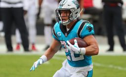 Sep 20, 2020; Tampa, Florida, USA;  Carolina Panthers running back Christian McCaffrey runs the ball against the Tampa Bay Buccaneers during the third quarter at Raymond James Stadium. Mandatory Credit: Kim Klement-USA TODAY Sports