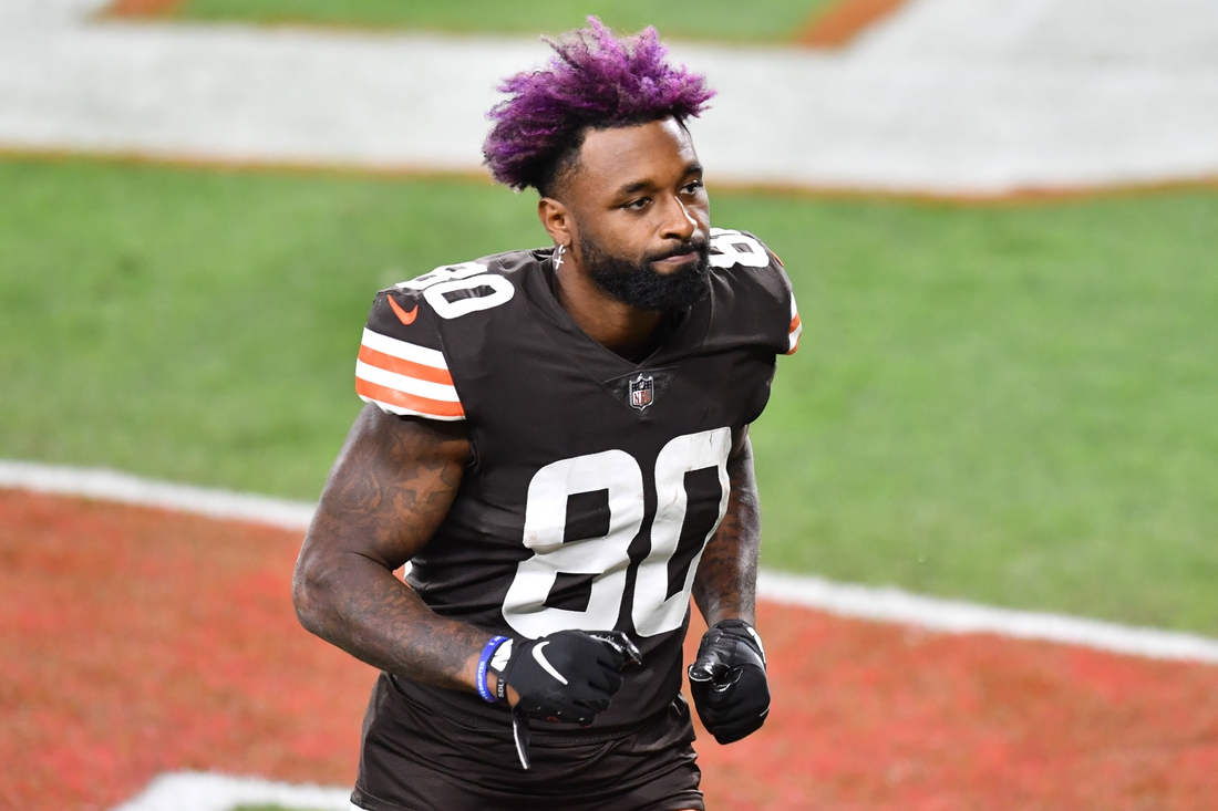 Sep 17, 2020; Cleveland, Ohio, USA; Cleveland Browns wide receiver Jarvis Landry (80) leaves the field after the game between the Cleveland Browns and the Cincinnati Bengals at FirstEnergy Stadium. Mandatory Credit: Ken Blaze-USA TODAY Sports