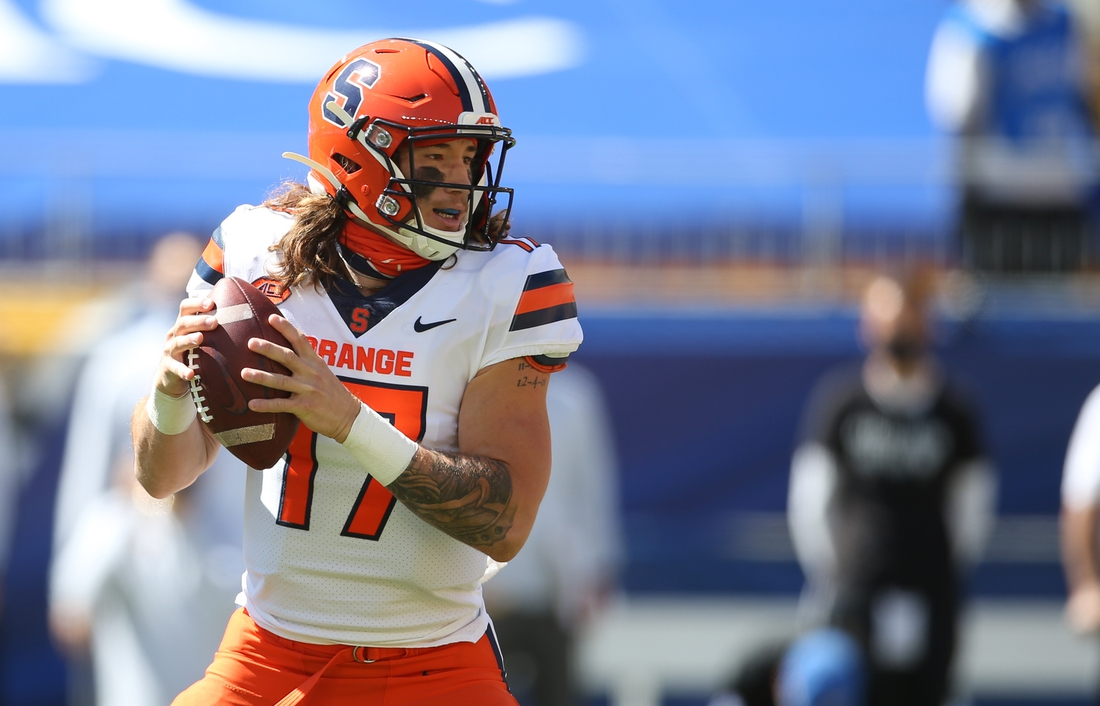 Sep 19, 2020; Pittsburgh, Pennsylvania, USA;  Syracuse Orange quarterback Rex Culpepper (17) looks to pass  against the Pittsburgh Panthers during the second quarter at Heinz Field. The Panthers won 21-10. Mandatory Credit: Charles LeClaire-USA TODAY Sports