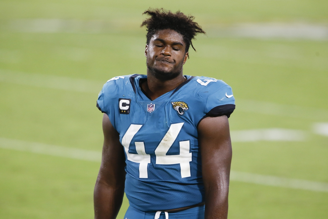 Sep 24, 2020; Jacksonville, Florida, USA;  Jacksonville Jaguars middle linebacker Myles Jack (44) reacts after a Miami Dolphins touchdown while on the bench during the second half at TIAA Bank Field. Mandatory Credit: Reinhold Matay-USA TODAY Sports
