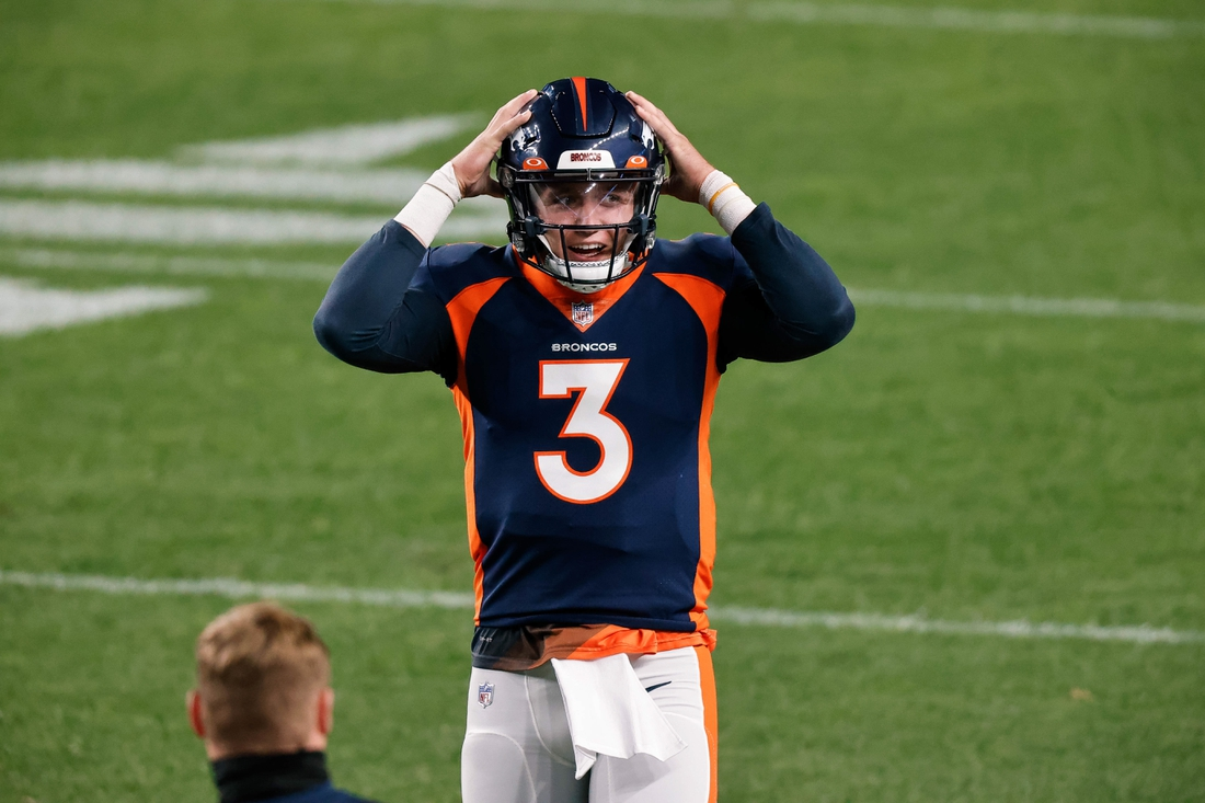 Sep 14, 2020; Denver, Colorado, USA; Denver Broncos quarterback Drew Lock (3) before the game against the Tennessee Titans at Empower Field at Mile High. Mandatory Credit: Isaiah J. Downing-USA TODAY Sports