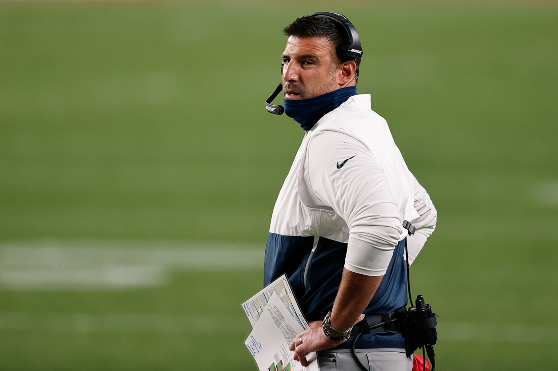 Sep 14, 2020; Denver, Colorado, USA; Tennessee Titans head coach Mike Vrabel in the first quarter against the Denver Broncos at Empower Field at Mile High. Mandatory Credit: Isaiah J. Downing-USA TODAY Sports