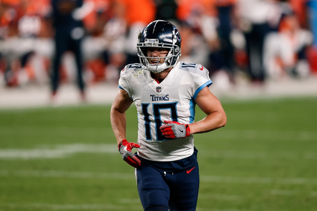 Sep 14, 2020; Denver, Colorado, USA; Tennessee Titans wide receiver Adam Humphries (10) in the fourth quarter against the Denver Broncos at Empower Field at Mile High. Mandatory Credit: Isaiah J. Downing-USA TODAY Sports