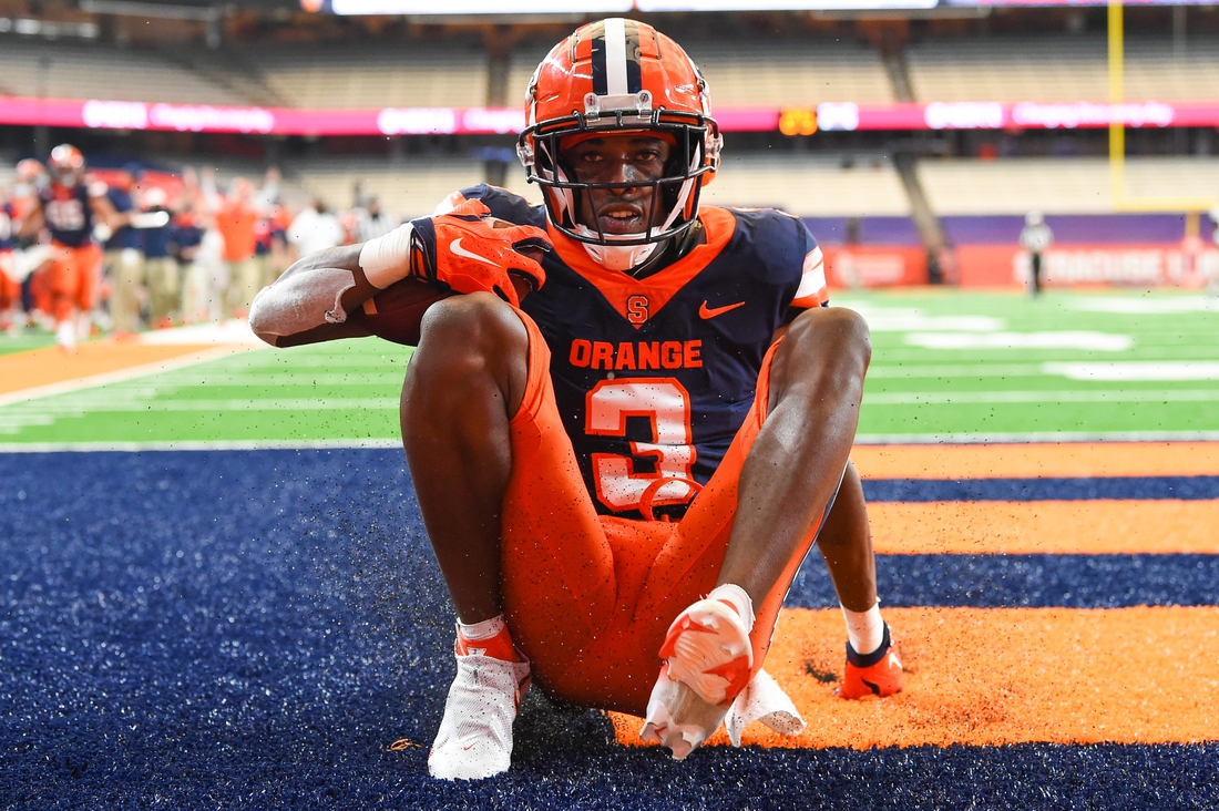 Sep 26, 2020; Syracuse, New York, USA; Syracuse Orange wide receiver Taj Harris (3) reacts to his touchdown catch and run against the Georgia Tech Yellow Jackets during the second quarter at the Carrier Dome. Mandatory Credit: Rich Barnes-USA TODAY Sports