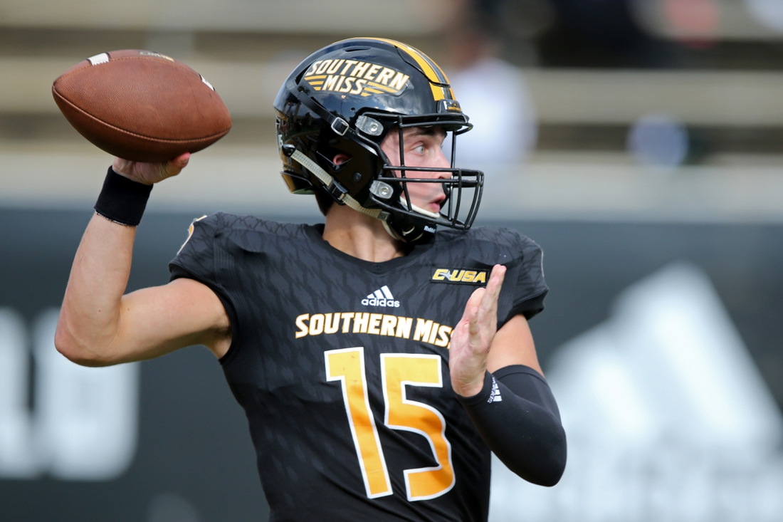 Sep 26, 2020; Hattiesburg, Mississippi, USA; Southern Mississippi Golden Eagles quarterback Jack Abraham (15) looks to throw against the Tulane Green Wave in the third quarter at M. M. Roberts Stadium. Mandatory Credit: Chuck Cook-USA TODAY Sports