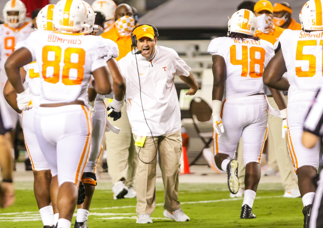 Sep 26, 2020; Columbia, South Carolina, USA; Tennessee Volunteers head coach Jeremy Pruitt celebrates after a touchdown against the South Carolina Gamecocks at Williams-Brice Stadium. Mandatory Credit: Jeff Blake-USA TODAY Sports