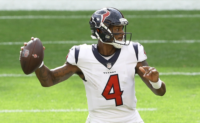Sep 27, 2020; Pittsburgh, Pennsylvania, USA;  Houston Texans quarterback Deshaun Watson (4) passes the ball against the Pittsburgh Steelers during the fourth quarter at Heinz Field. The Steelers won 28-21. Mandatory Credit: Charles LeClaire-USA TODAY Sports